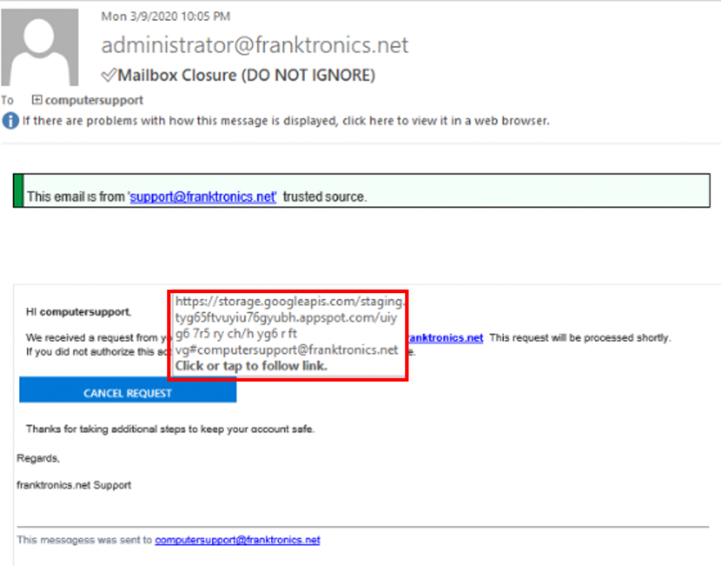 phishing email link